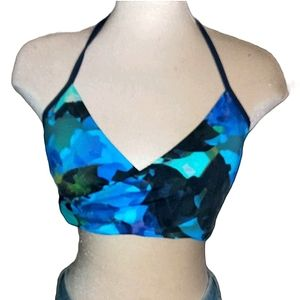 Athleta swimsuit top bikini blue &green hues XL